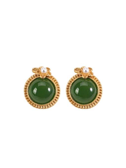 DEER 925 Sterling Silver Jade Round Minimalist Stud Earring 0
