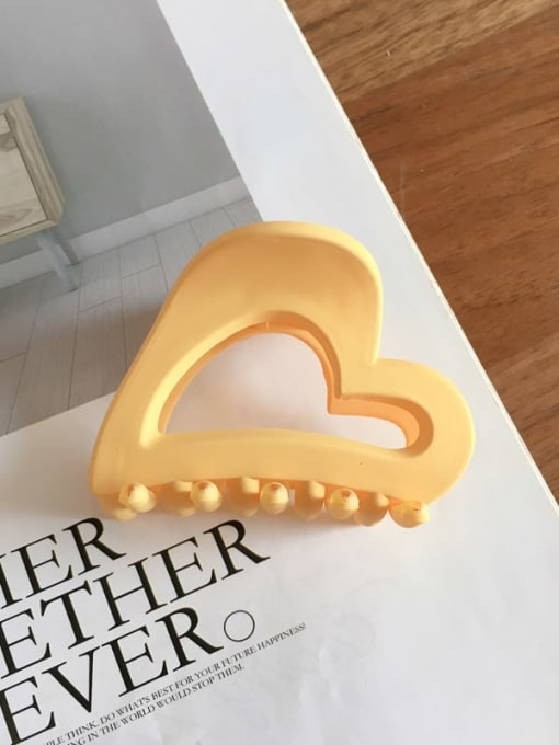 Frosted yellow Cellulose Acetate Minimalist Hollow Heart Jaw Hair Claw