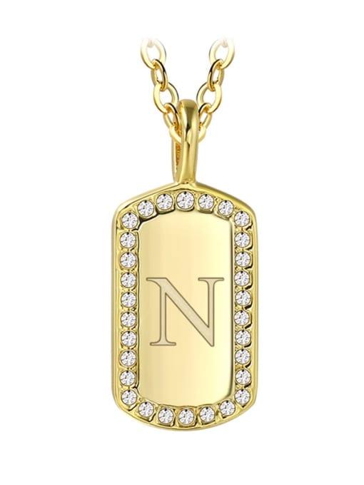 Gold Letter  N Brass Rhinestone Letter Minimalist Necklace