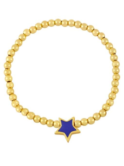 dark blue Brass Enamel Star Vintage Beaded Bracelet