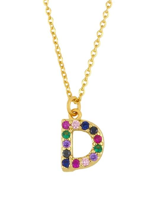 D Brass Cubic Zirconia Letter Vintage Necklace