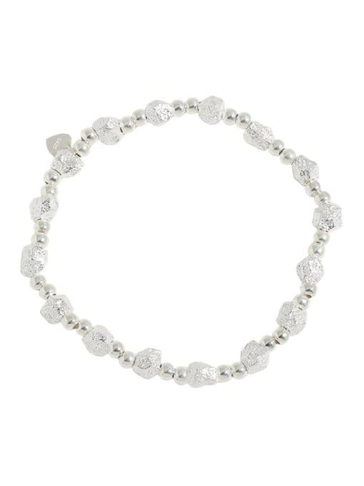 silver 925 Sterling Silver Geometric Vintage Beaded Bracelet