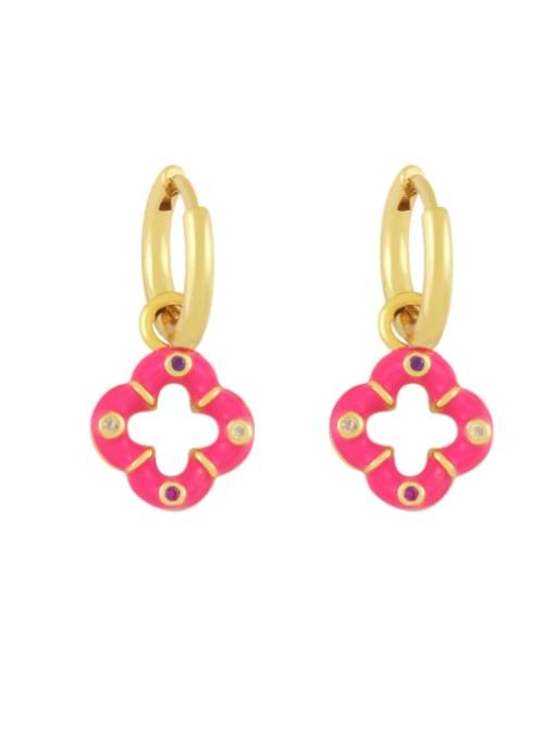 Rose red Brass Enamel Clover Vintage Huggie Earring