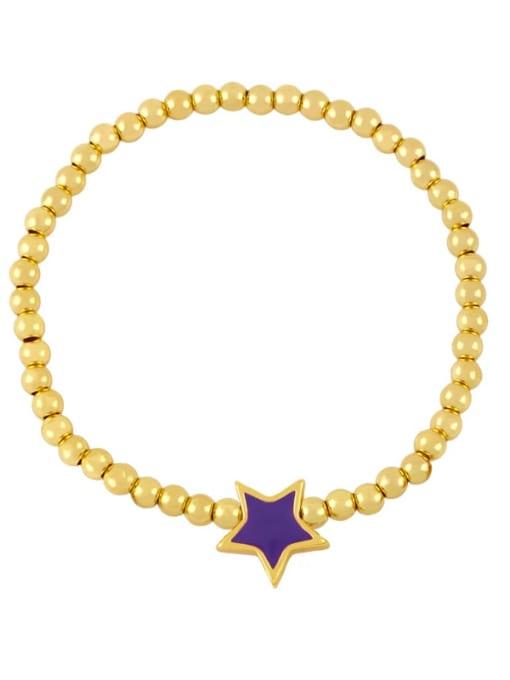 CC Brass Enamel Star Vintage Beaded Bracelet 0