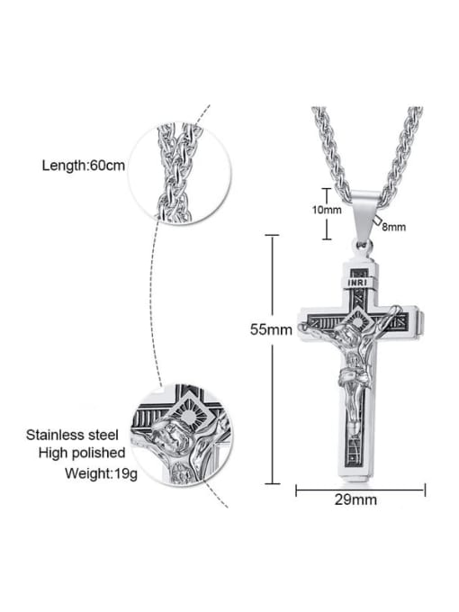 CONG Stainless steel Cross Vintage Regligious Necklace 1