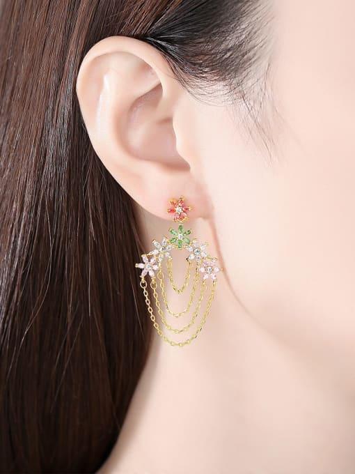 BLING SU Brass Cubic Zirconia Tassel Luxury Earring 1