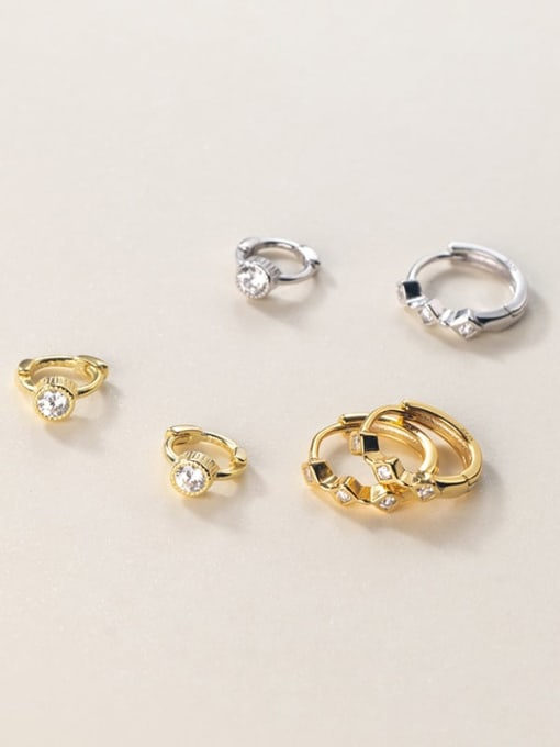 Rosh 925 Sterling Silver Cubic Zirconia Geometric Minimalist Huggie Earring 3