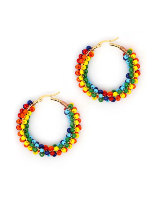 Roxi Stainless steel MGB  Bead Multi Color Geometric Bohemia Huggie Earring 3