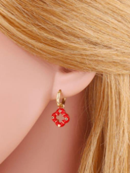 CC Brass Enamel Clover Vintage Huggie Earring 1