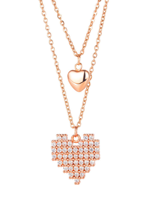 1854 rose gold plated necklace Titanium Steel Cubic Zirconia Heart Minimalist Multi Strand Necklace