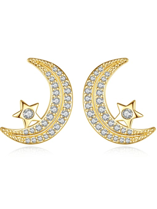 BLING SU Copper Cubic Zirconia Moon Classic Stud Earring