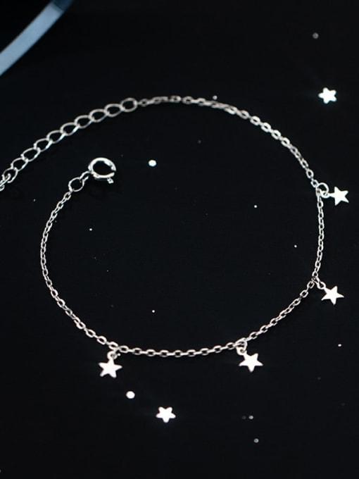 Rosh 925 Sterling Silver Star Minimalist Link Bracelet