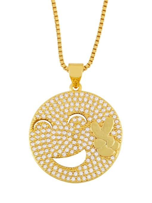 CC Brass Cubic Zirconia Smiley Vintage Necklace 2