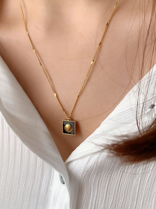 A TEEM Titanium Steel Square Minimalist Necklace 1