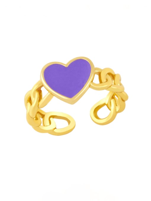 purple Brass Enamel Heart Vintage Band Ring