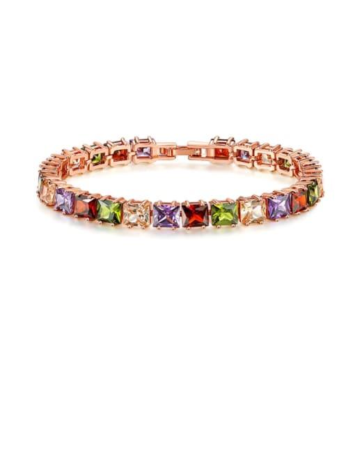 DUDU Brass Multi Color Geometric Cubic Zirconia  Dainty Bracelet 0