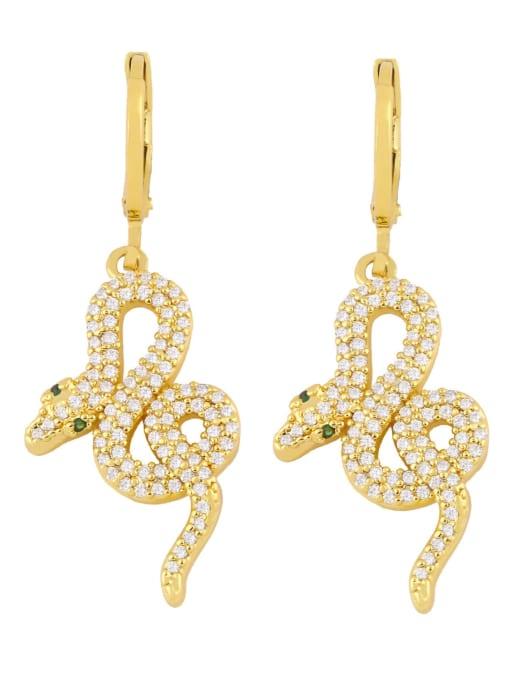 gold Brass Cubic Zirconia Snake Vintage Drop Earring