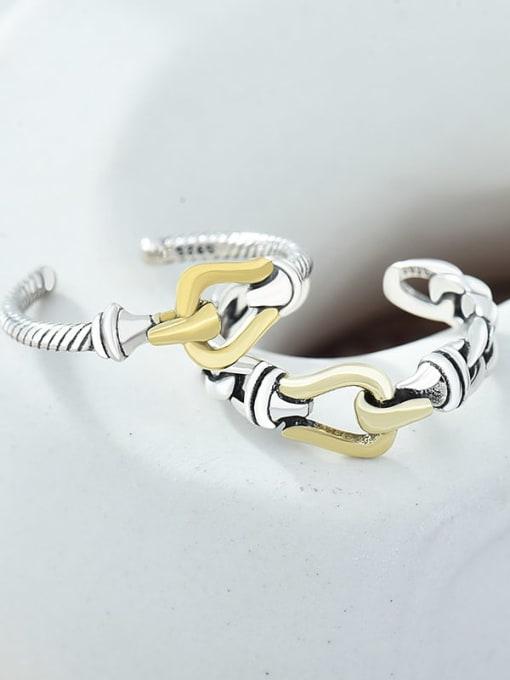 XBOX Brass hollow chain  Irregular Vintage Band Ring 1