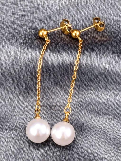 A TEEM Titanium Imitation Pearl Tassel Minimalist Drop Earring 0