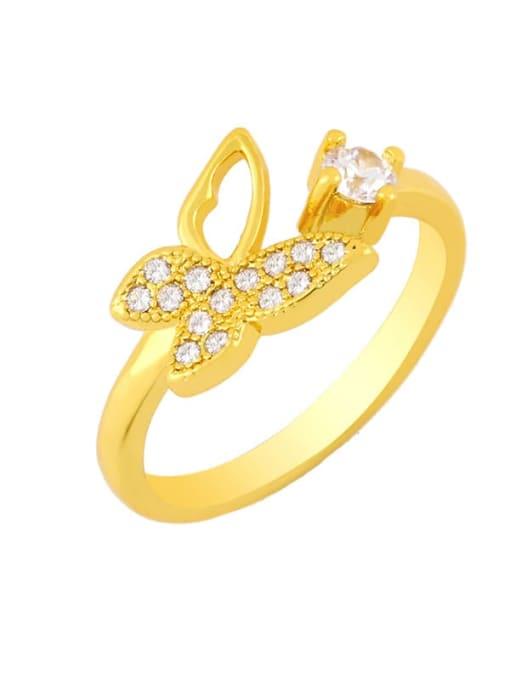 A Brass Rhinestone Minimalist Double Cross Stackable Ring