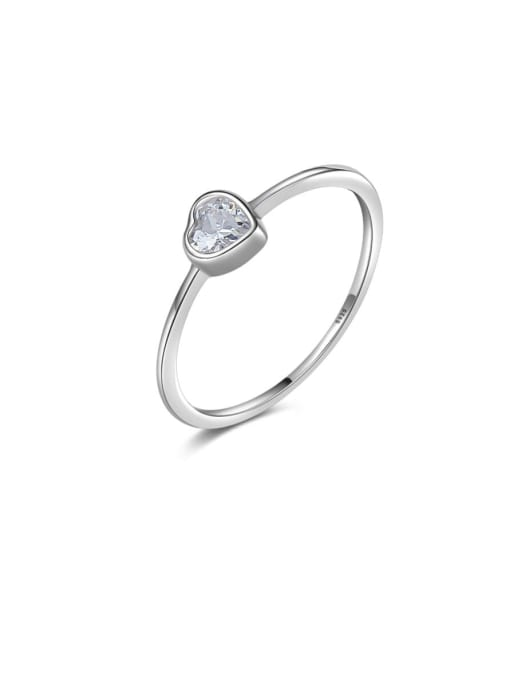 CCUI 925 Sterling Silver Cubic Zirconia Heart Minimalist Band Ring 0