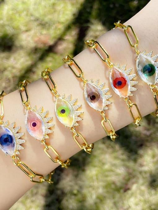 CC Brass Enamel Evil Eye Vintage Link Bracelet 1