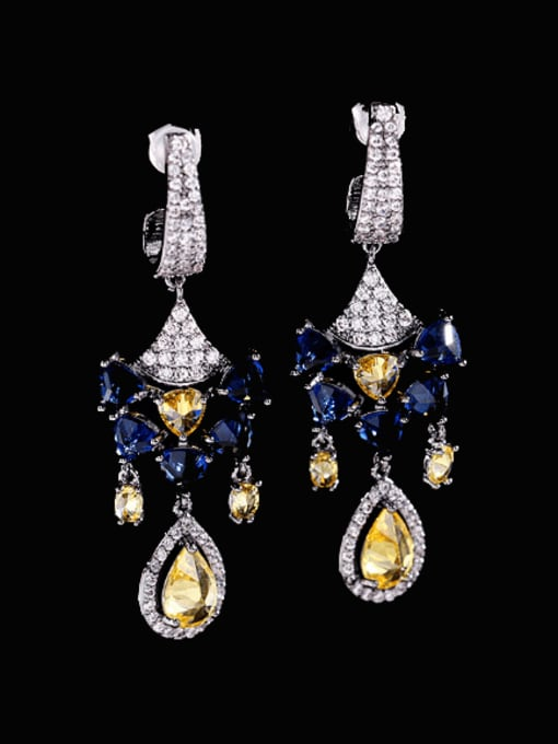 Blue zirconium Brass Cubic Zirconia Geometric Vintage Drop Earring