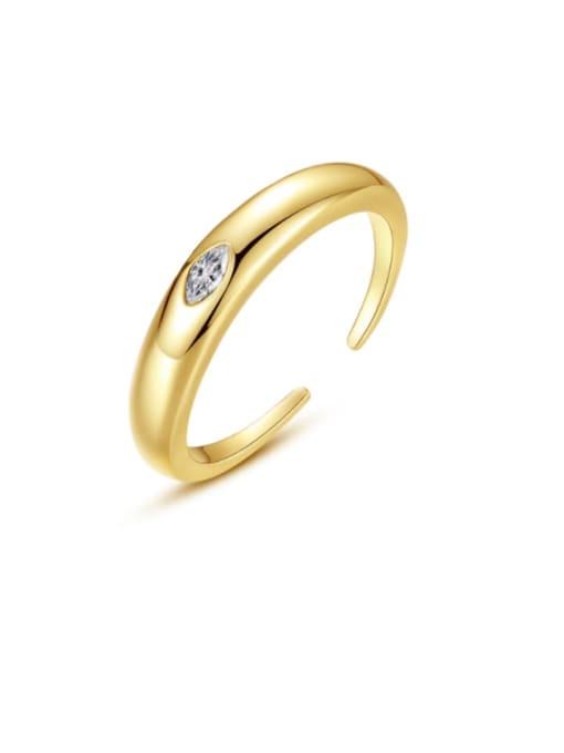 BLING SU Brass Cubic Zirconia Geometric Minimalist Band Ring