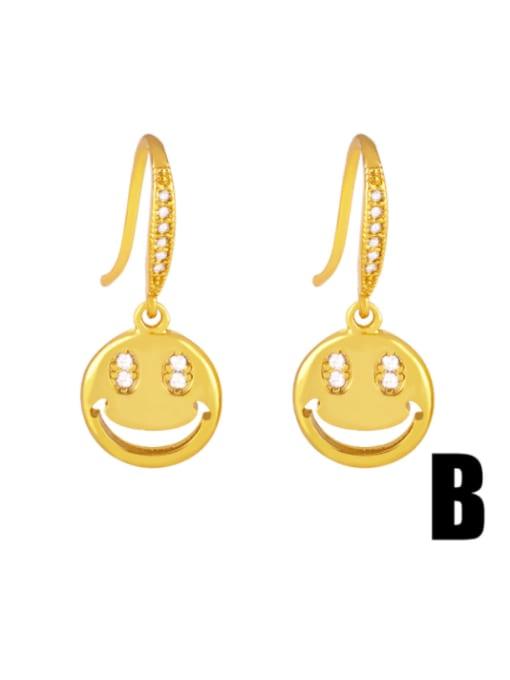 B Brass Cubic Zirconia Star Hip Hop Hook Earring