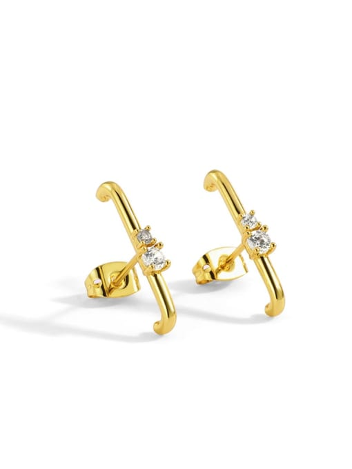 CHARME Brass Cubic Zirconia Geometric Minimalist Stud Earring 0
