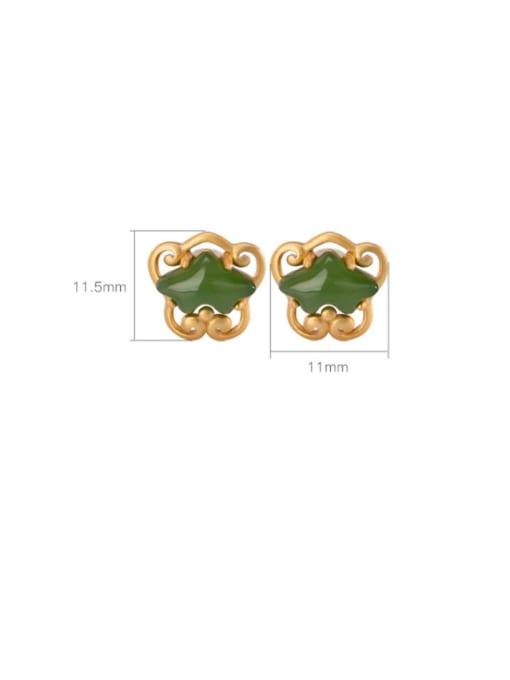 DEER 925 Sterling Silver Jade Irregular Ethnic Stud Earring 3