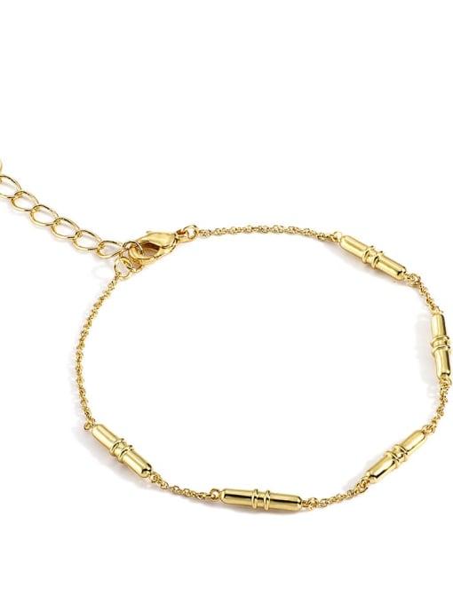 Gold Brass Cubic Zirconia Irregular Minimalist Link Bracelet