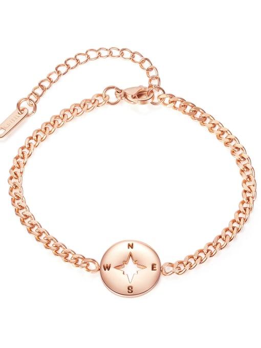 rose gold Titanium Steel Heart Minimalist Link Bracelet