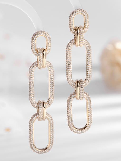 Luxu Brass Cubic Zirconia Geometric Trend Drop Earring 1