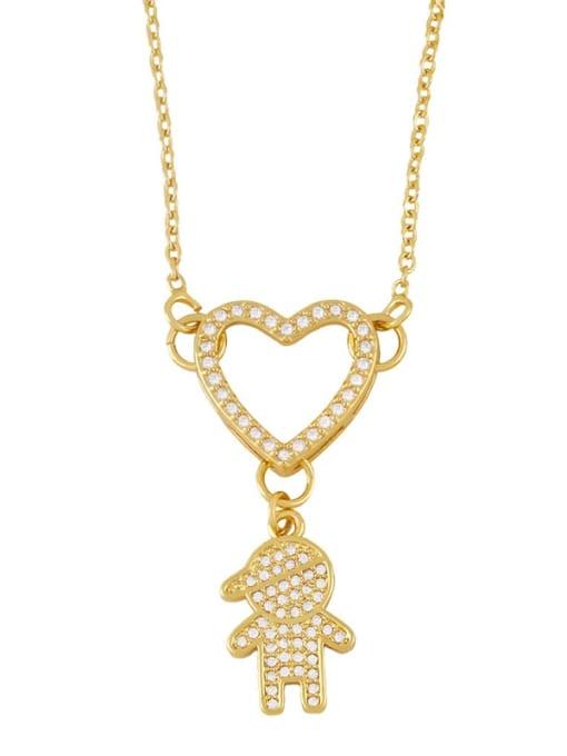 boy Brass Cubic Zirconia Heart Hip Hop Necklace