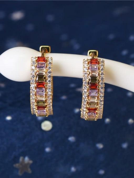 DUDU Brass Cubic Zirconia Geometric Luxury Huggie Earring 1