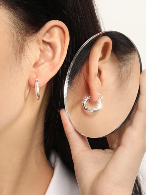 DAKA 925 Sterling Silver Hollow Geometric Vintage Huggie Earring 2