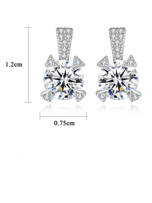 CCUI 925 Sterling Silver Cubic Zirconia Geometric Statement Stud Earring 4