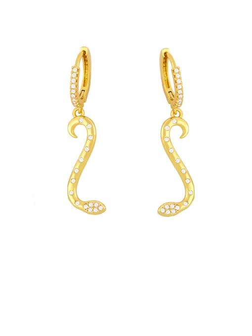 golden Brass Cubic Zirconia Snake Minimalist Drop Earring