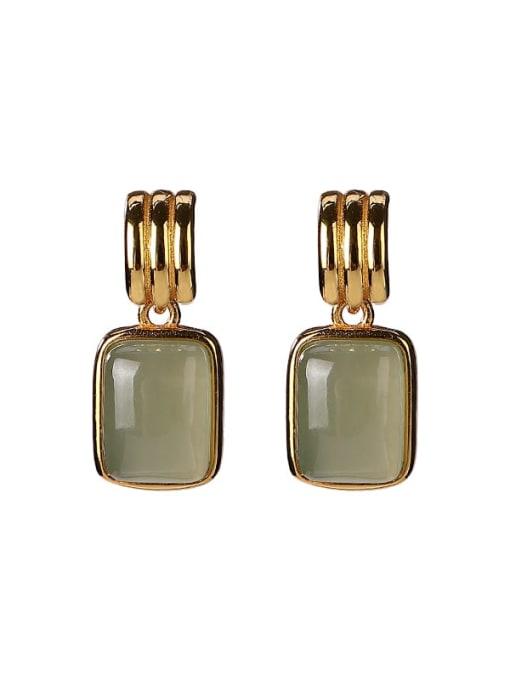 DEER 925 Sterling Silver Jade Geometric Vintage Drop Earring 4
