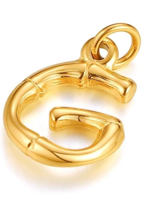 Letter G, without chain Titanium Steel  26 Letter Minimalist  Pendant Necklace