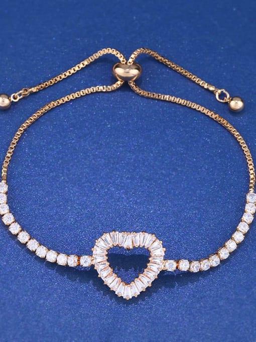 CC Brass Cubic Zirconia Heart Dainty Adjustable Bracelet 1