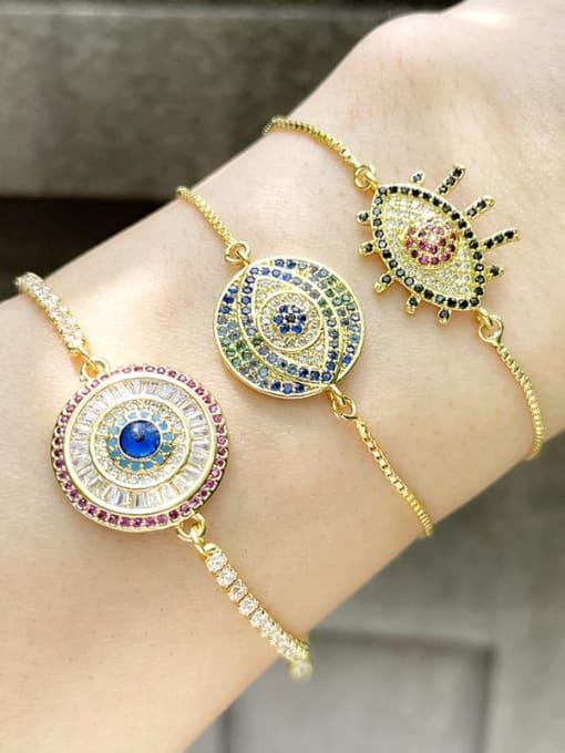 CC Brass Cubic Zirconia Evil Eye Vintage Link Bracelet