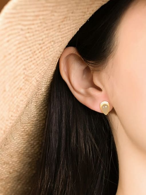DEER 925 Sterling Silver Jade Water Drop Vintage Stud Earring 1