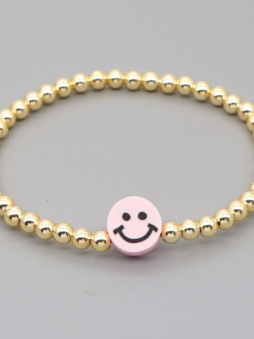 QT B200203C Stainless steel Polymer Clay Smiley Bohemia Beaded Bracelet