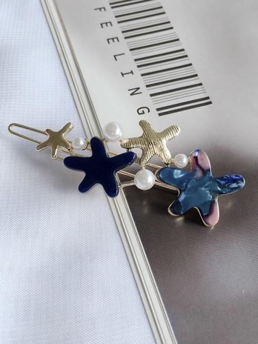 navy blue Alloy Cellulose Acetate Minimalist Star  Hair Pin