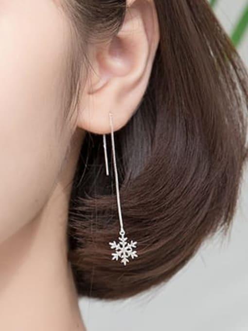 Rosh 925 Sterling Silver Flower Minimalist Threader Earring 2