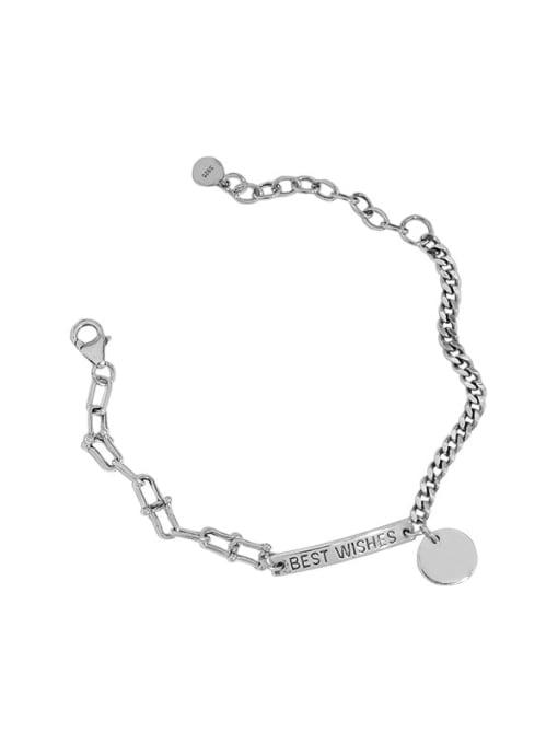 DAKA 925 Sterling Silver Irregular Vintage Link Bracelet