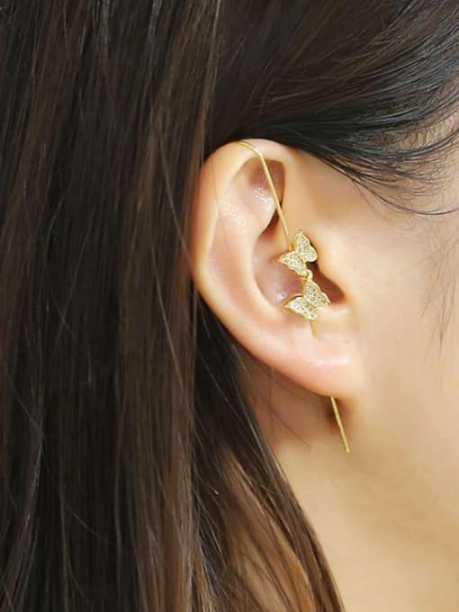 CC Brass Cubic Zirconia Butterfly Minimalist Hook Earring 1