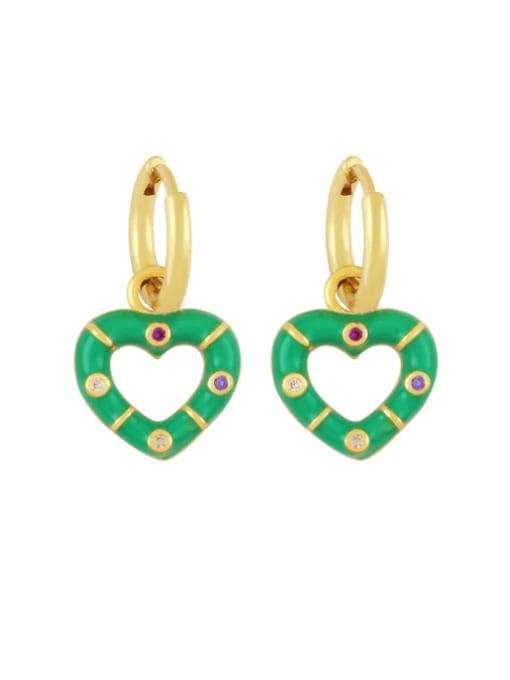green Brass Enamel Heart Vintage Huggie Earring